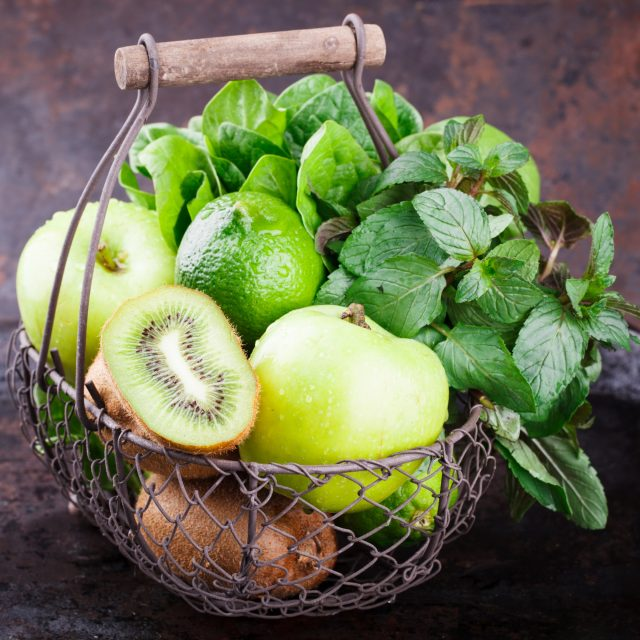 Basket of green fruit.
