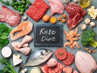 Keto diet, low carb concept, top view