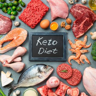 Keto diet, low carb concept, top view
