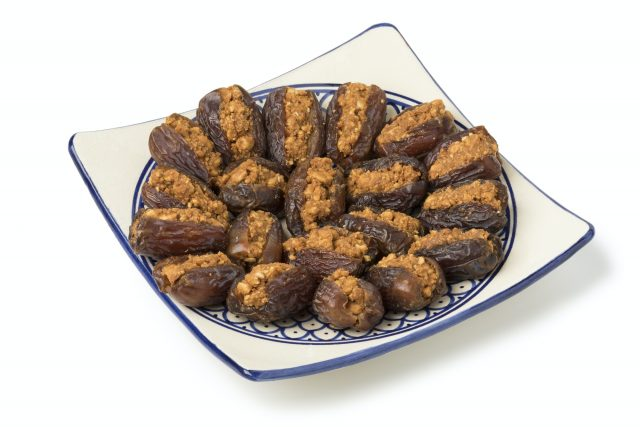 Dish with traditional Moroccan stuffed dates
