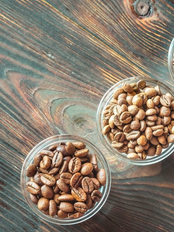 Bowls of different types of coffee beans