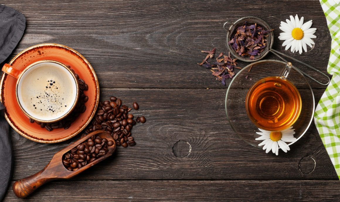 Herbal tea and espresso coffee