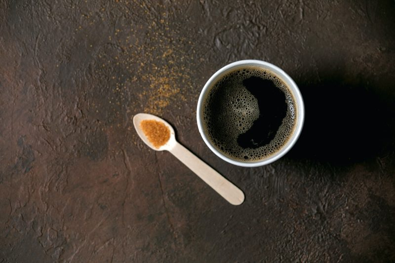 Paper cup of americano coffee