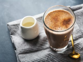 Chai latte in glass with milk