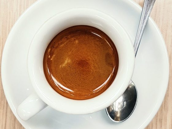 Cup of espresso caffee on a table