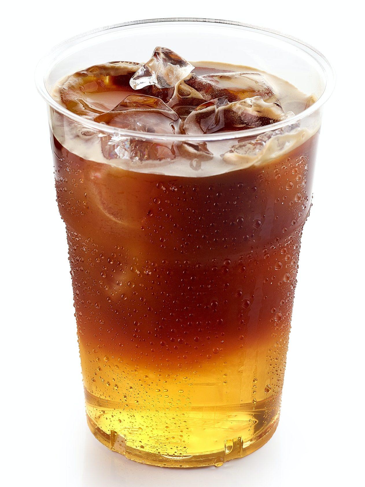 iced layered coffee drink