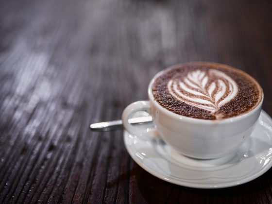 Top view Of Coffee Caffe Mocha Also Known As Mocaccino