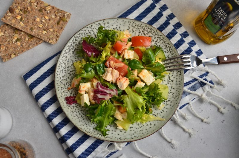 Greek Chicken Salad With Vegetables And Feta Cheese
