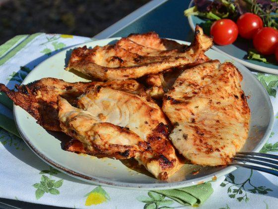 Grilled chicken steak in mayo