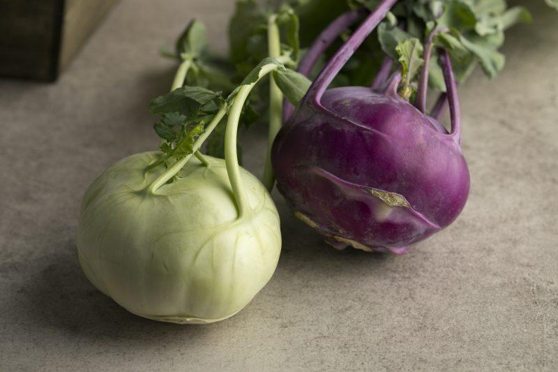 Fresh green and purple kohlrabi