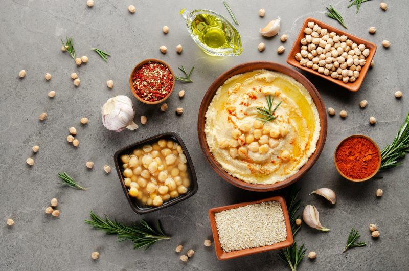 Hummus topped with chickpeas