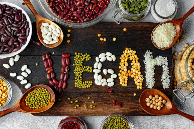 Word Vegan made of mix of grains and beans
