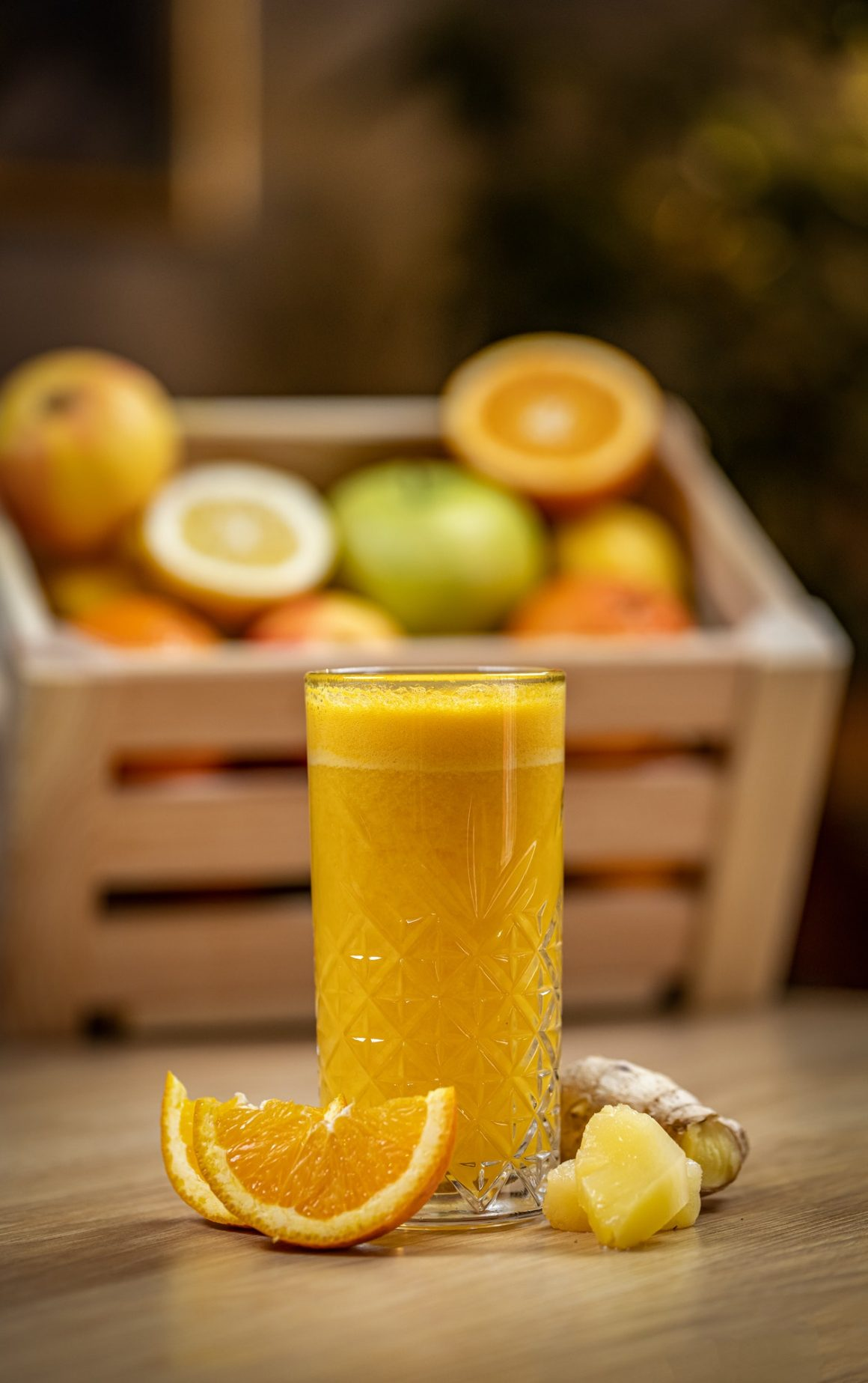 Healthy orange, pineapple and ginger juice